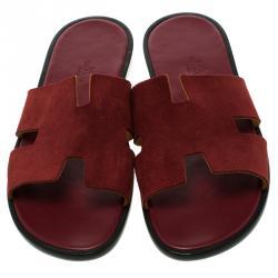 Hermes Maroon Suede Izmir Sandals Size 44