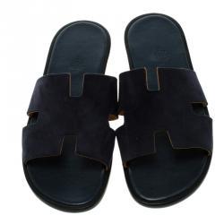 Hermes Navy Blue Suede Izmir Sandals Size 44