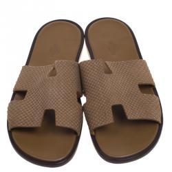 Hermes Beige Python Izmir Sandals Size 43.5