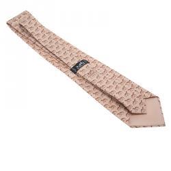 Hermes Beige Horse Print Silk Tie