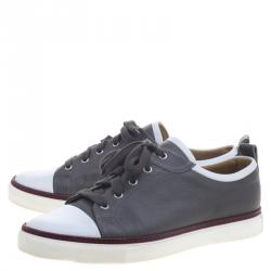 Hermes Two Tone Leather Inside Lace Up Sneakers Size 43