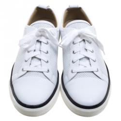 Hermes White Perforated Leather Inside Lace Up Sneakers Size 43.5