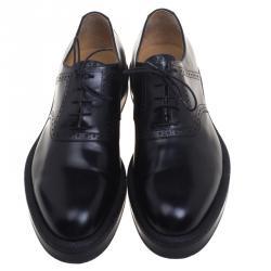 حذاء أوكسفورد هيرمس جلد بروغي أسود مقاس 43.5