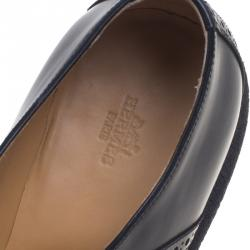 Hermes Black Brogue Leather Oxfords Size 43.5