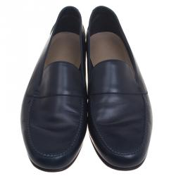 Hermes Oxford Blue Leather Keep Moccasins Size 43