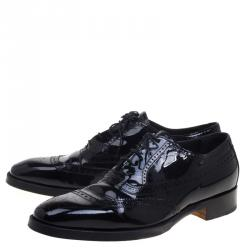 Hermes Black Patent Brogue Leather Lace Up Oxfords Size 43.5