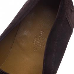 Hermes Chocolate Brown Suede Lucky Moccasins Size 43