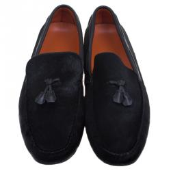 Hermes Black Calf Hair Leonard Moccasins Size 43
