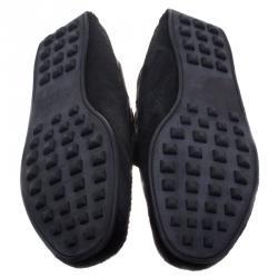 حذاء موكاسان هيرمس ليونارد فرو عجل أسود مقاس 43