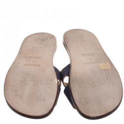 Hermes Dark Blue Lizard Izmir Sandals Size 44