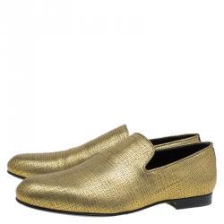Jimmy Choo Gold Metallic Leather Sloane Smoking Slippers Size 43.5