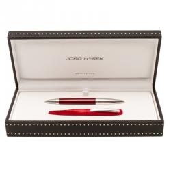 Jorg Hysek Red and Silver Stainless Steel Leather Rollerball Pen