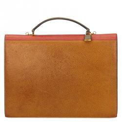 Lancel Bi Color Lizard Embossed Leather Attache Briefcase