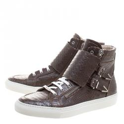 Le Silla Brown Python Embossed Leather High Top Sneakers Size 44