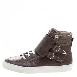 Le Silla Brown Python Embossed Leather High Top Sneakers Size 43