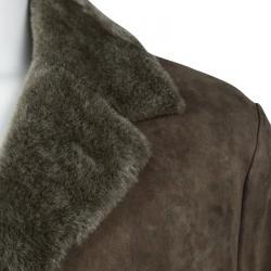 Loro Piana Brown Shearling Lined Suede Coat XXL