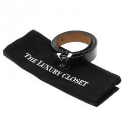 Louis Vuitton Black Epi Leather Initials Belt Size 95 CM