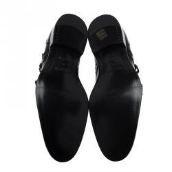 Louis Vuitton Black Brogue Leather Monkstrap Shoes Size 44