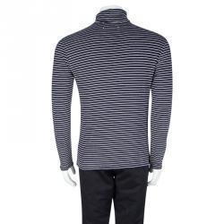 Maison Martin Margiela Navy Blue and White Striped Knit Turtle Neck T-Shirt M