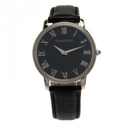 Mauboussin Black Stainless Steel Montre Homme Jardin Men's Wristwatch 40MM