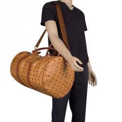 36f762fdd MCM Cognac Visetos Coated Canvas Stark Weekender Duffel Bag