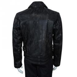 McQ by Alexander McQueen Men's Black Distressed Leather Biker Jacket L