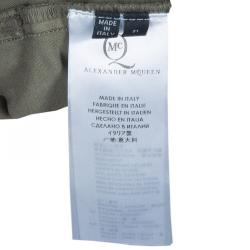 McQ by Alexander McQueen Olive Green Leather Buckle Utility Pants S