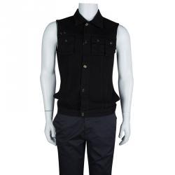 McQ By Alexander McQueen Black Denim Rib Detail Vest M