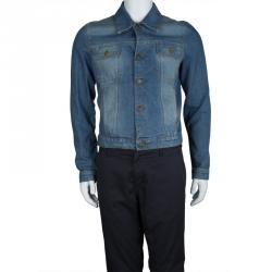 McQ By Alexander McQueen Faded Indigo Distressed Denim Jacket M