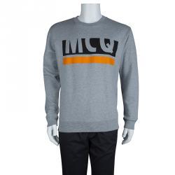 McQ By Alexander McQueen Grey Printed Cotton Sweatshirt L