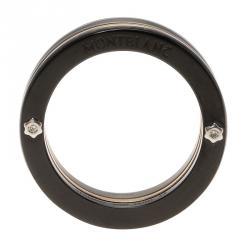 Montblanc The League Black Titanium Steel Rose Gold Tone Mens Band Ring Size 58