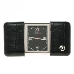 Montblanc Profile Sliding Black Dial Leather Case Travel Timepiece