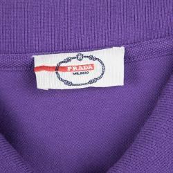 Prada Sport Purple Honeycomb Knit Striped Trim Detail Polo T-Shirt M