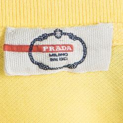 Prada Sport Yellow Panther Embroidered Polo T-Shirt XL
