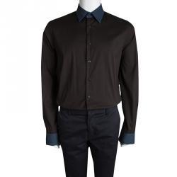 Prada Brown Contrast Collar and Cuff  Long Sleeve Shirt XL