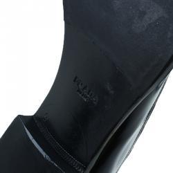 Prada Black Leather Runway Gladiator Oxfords Size 43