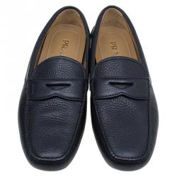 Prada Oxford Blue Leather Penny Loafers Size 44