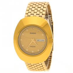Rado Yellow Ochre Stainless Steel DiaStar Gold Plated Men's Wristwatch 35 mm