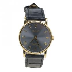 Rolex Grey 18K Yellow Gold Cellini Men's Wristwatch 30MM