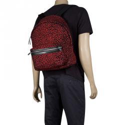 Saint Laurent Paris Black/Red Printed Canvas Hunting Backpack