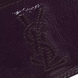 Saint Laurent Paris Purple Patent Leather Card Holder