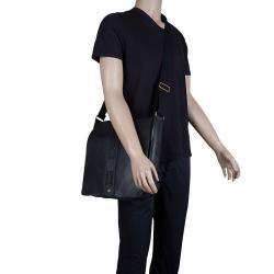 Saint Laurent Paris Black Leather Logo Messenger Bag