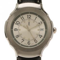 Saint Laurent Paris Silver Stainless Steel Classic Men's Wristwatch 36MM