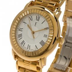 Saint Laurent Paris White Gold-Plated Stainless Steel Herrenuhr Men's Wristwatch 36MM