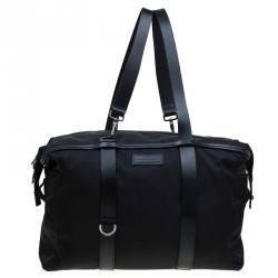 1d80f70ed2 Salvatore Ferragamo Black Nylon and Leather Strap Weekender Bag