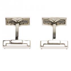 S.T. Dupont Suitcase Brush Decor Silver Tone Classic Men's Cufflinks