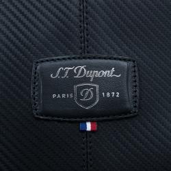 S.T. Dupont Black Leather Carbone Laptop Case Bag