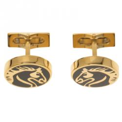 S.T. Dupont Black Lacquer Horse Gold Plated Limited Edition Cufflinks