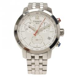 Tissot White Stainless Steel PRC200 Chronograph NBA Special Edition Mens Wristwatch 41MM
