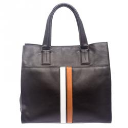 Tod's Dark Brown Leather Striped Atlantico Laurent Tote